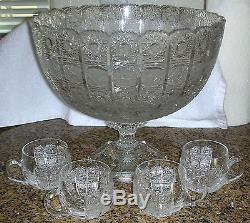 Bohemia Crystal QUEEN LACE Hand Cut Footed Punch Bowl 10 Glasses Bohemian Czech