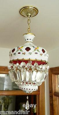 Bohemia Czech Moser hanging light chandelier- white cut to ruby