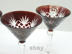 Bohemian AJKA Cut to Clear Crystal 7 Tall Set of 4 Vintage Martini Glasses Red