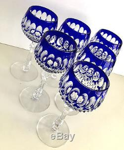Bohemian Cobalt Blue Cased Cut To Clear Crystal 7 1/2 Wine Goblets Set Of 6