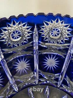 Bohemian Cobalt Blue Cut To Clear Queens Lace Crystal Center Piece Bowl