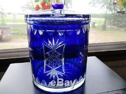 Bohemian Cobalt Cut To Clear Crystal Ice Bucket Biscuit Jar Nice