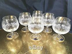 Bohemian Crystal Glass Set of 6 Cognac Snifter Brandy Glasses 8 oz Hand Cut