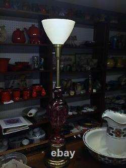 Bohemian Crystal Lamp Cranberry cut to clear 36.5 Hollywood Regency Mid Century
