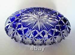 Bohemian Cut to Clear Cobalt Blue Crystal Oval Cradle Form Bowl Centerpiece