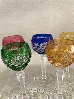 Bohemian Cut to Clear Crystal Cordial 4.5 Glasses Stemware Set of 11