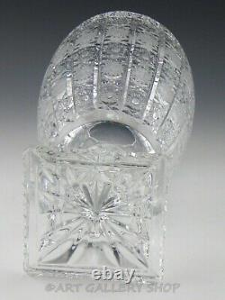 Bohemian Czech Art Glass Cut Crystal QUEEN LACE 13.5 LARGE PEDESTAL FLOWER VASE