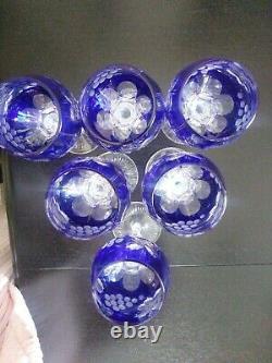 Bohemian Czech Cobalt Blue Crystal Wine Glasses Cut-To-Clear Grapes Leaf (6)