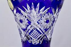 Bohemian Czech Cobalt Blue Cut To Clear Crystal Art Glass Vase-mint