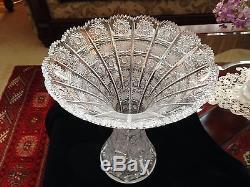 Bohemian Czech Crystal Art Glass Queen Lace Hand Cut Vase