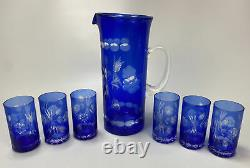 Bohemian Czech Crystal, Cobalt Blue Cut To Clear Glass Pitcher & 6 Juice Glasses