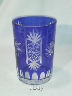 Bohemian Czech Crystal, Cobalt Blue Cut To Clear Pitcher & 6 Water Glass Set
