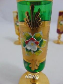 Bohemian Czech Crystal Cut Clear Multicolor Glasses