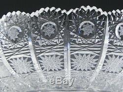 Bohemian Czech Crystal HAND CUT QUEEN LACE 10 LARGE FRUIT BOWL CENTERPIECE Mint