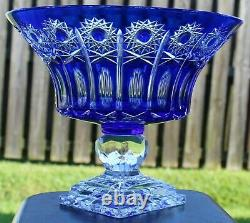 Bohemian Czech Cut to Clear Cobalt Blue Crystal Large Footed Bowl Centerpiece