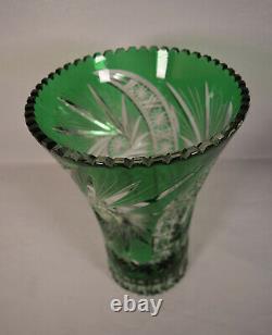 Bohemian Czech Hand Cut to Clear Crystal Green Vase 12
