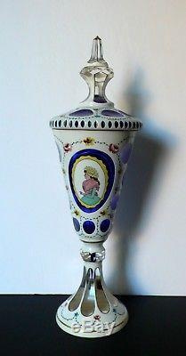Bohemian Czech Moser Crystal Apothecary Jar Vase White Overlay Cut To Cobalt