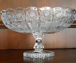 Bohemian Czech Vintage Crystal 10 pedestal Bowl Hand Cut Queen Lace 24% Lead