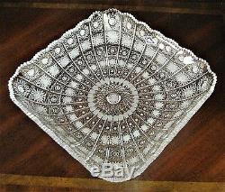 Bohemian Czech Vintage Crystal 11 Square Bowl Hand Cut Queen Lace 24%Lead Glass