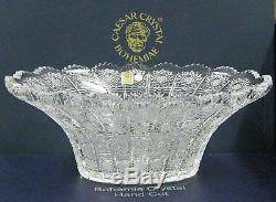Bohemian Czech Vintage Crystal 12 Oval Bowl Hand Cut Queen Lace 24% Lead Glass