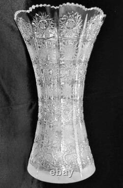 Bohemian Czech Vintage Crystal 14 Tall Vase Hand Cut Queen Lace 24% Lead Glass