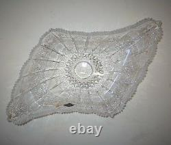 Bohemian Czech Vintage Crystal 18 Diamond Bowl Hand Cut Queen Lace 24% Lead