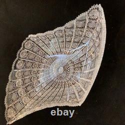 Bohemian Czech Vintage Crystal 18 Diamond Shape Bowl Cut Queen Lace 24% Lead
