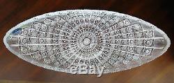 Bohemian Czech Vintage Crystal 22 Oval Platter Hand Cut Queen Lace 24% Lead