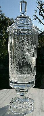 Bohemian Glass Pokal Vase Cut Etched Stag Deer Forest Lidded Crystal Vase 14.5