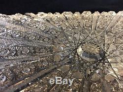 Bohemian Hand Cut Crystal Art Glass Rectangular Dresser Tray, 13 1/4 x 7