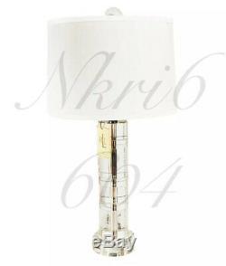 Brand New RALPH LAUREN FARRAH CUT CRYSTAL GLASS COLUMN LAMP SILK SHADE