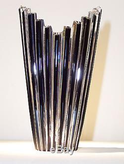 CAESAR CRYSTAL Bud Vase Black Cased Cut to Clear Overlay Czech Bohemian Glass