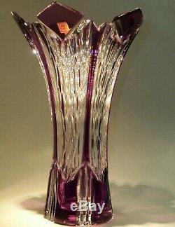 CAESAR CRYSTAL Purple Vase Cut to Clear Overlay Czech Bohemian Cased Art Glass