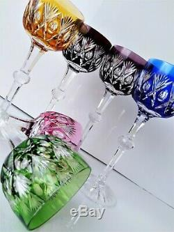 CZECH BOHEMIAN Wine Goblets set of 6 Multi-Color Cut to Clear Crystal Beautiful