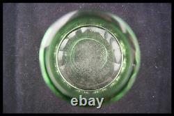 C. 1930 Baccarat Green Clear Cut Crystal Covered Box Vanity Jar Candy Bowl France