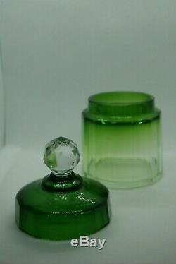 C. 1930 Baccarat Green Clear Cut Crystal Covered Box Vanity Jar Dresser France
