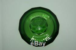 C. 1930 Baccarat Green Clear Cut Crystal Covered Box Vanity Jar Dresser France
