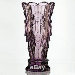 C. 1950s Moser sculptural moulded & cut crystal lilac vase, Zadikow or Eschler