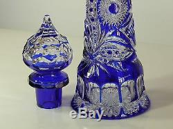 Cased Crystal DECANTER & 6 GOBLETS & TRAY, Cobalt Blue Cut to clear overlay