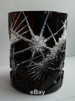 Cased Crystal Glass 2 Whiskey Glasses Cut To Clear Black Czech Bohemian Tumblers