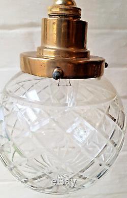 Ceiling Light Antique Cut Glass Sphere Pendant Fitting