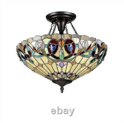 Ceiling Light Colorful Victorian Tiffany Style Stained Cut Glass 16 Semi Flush