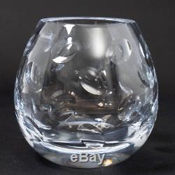 Christofle Clear Crystal Cluny Round Vase Cut Thumbprint Design 6 Tall + Book