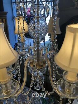 Circa 1920s Pillsbury Estate Six Arm Clear Cut Glass and Crystal Chandelier