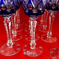 Cobalt Blue Bohemian Czech cut to clear crystal wine glass 12 Coblets