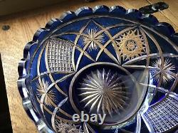 Cobalt Blue CUT TO CLEAR Lead Glass Crystal Bowl Bohemian Czech 8x3.5