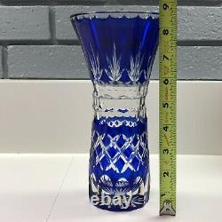Cobalt Blue Cut To Clear Crystal Vase Thick Genuine Hand Cut