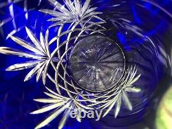 Cobalt cut to clear crystal pitcher 10.5 Poland