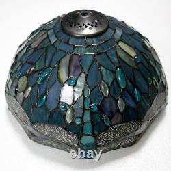 Colored Dragonfly Cut Glass Lampshade Light 18 Tall Bronze Base Tiffany Style