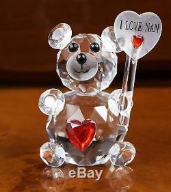 Crystal Cut Clear Teddy Bear I Love Nan Grandma Gift For Mothers Day